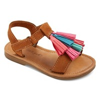 Toddler Girls' Payton Slide Sandals With Multi Colored Tassels Cat & Jack - Brown. opens in a new tab.
