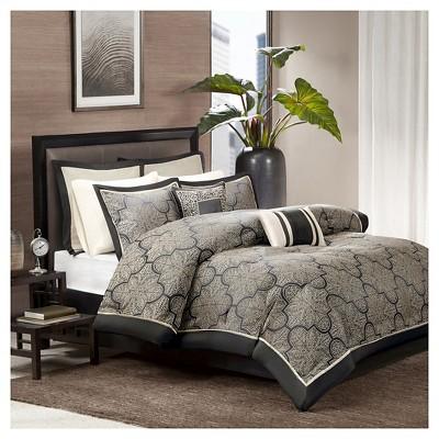 Ryland Jacquard Comforter Set (King)Black - 8pc