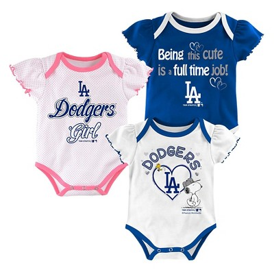 Los Angeles Dodgers Baby Girls' Cutest Little Fan Bodysuit Set 3pk - 3-6 M