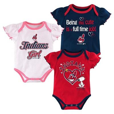 Cleveland Indians Baby Girls' Cutest Little Fan 3pk Bodysuit Set - Multi-Colored 0-3 M