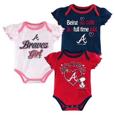 Atlanta Braves Baby Girls' Cutest Little Fan 3pk Bodysuit Set - Multi-Colored 12 M