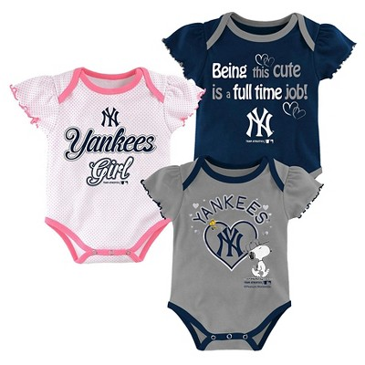 New York Yankees Baby Girls' Cutest Little Fan 3pk Bodysuit Set - Multi-Colored 6-9 M