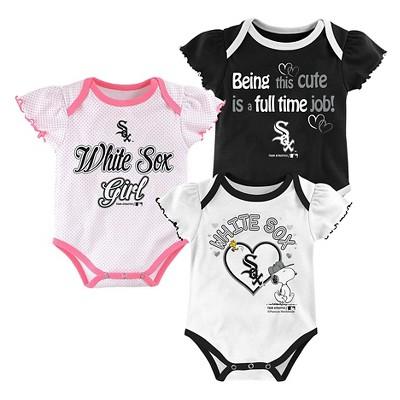 Chicago White Sox Baby Girls' Cutest Little Fan 3pk Bodysuit Set - Multi-Colored 18 M
