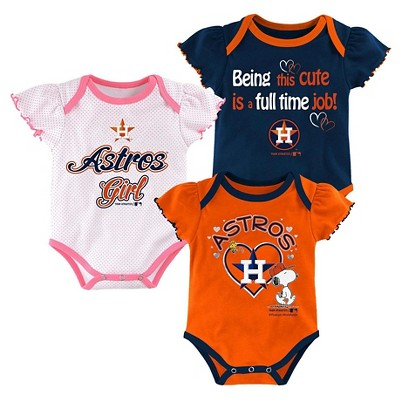 Houston Astros Baby Girls' Cutest Little Fan 3pk Bodysuit Set - Multi-Colored 0-3 M