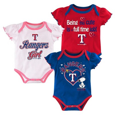 Texas Rangers Baby Girls' Cutest Little Fan 3pk Bodysuit Set - Multi-Colored 18 M