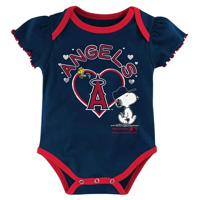 Los Angeles Angels of Anaheim Baby Girls' Cutest Little Fan 3 Pack Bodysuit Set - Multi-Colored 18 M, Infant Girl's