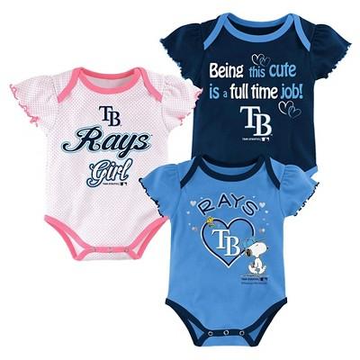 Tampa Bay Rays Baby Girls' Cutest Little Fan 3pk Bodysuit Set - Multi-Colored 6-9 M