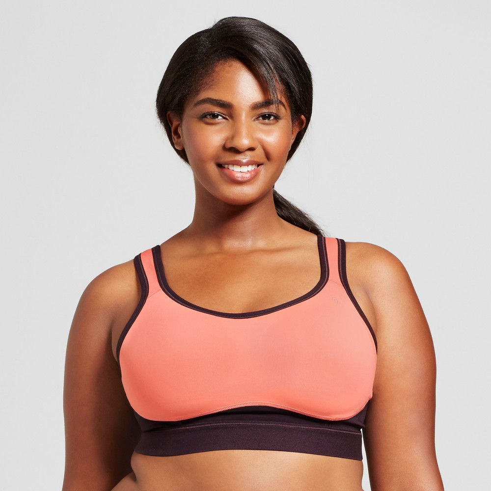 Womens Plus Size Power Core Compression Max High Support Sports Bra - C9 Champion Ripe Papaya (Orange) 1X