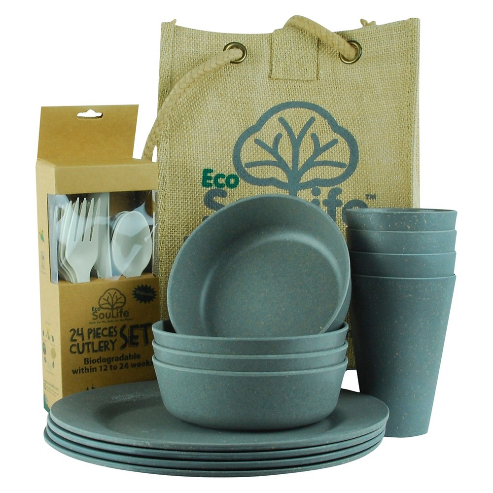 Image of EcoSouLife Bamboo Picnic Set for 4 - Charcoal (Grey)