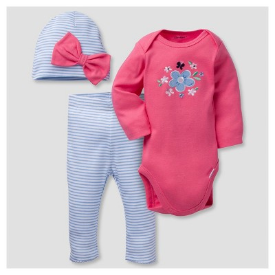 Baby Girls' 3 Piece Long Sleeve Onesies® Bodysuit, Leggings, and Bow Cap Set Flowers - Gerber®