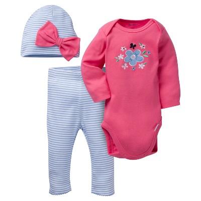 Baby Girls' 3 Piece Long Sleeve Onesies® Bodysuit, Leggings, and Bow Cap Set Flowers - Gerber®