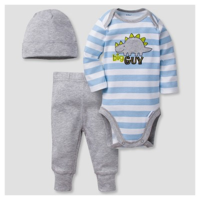 Baby Boys' 3 Piece Long Sleeve Onesies® Bodysuit, Jogger Pants, and Cap Set Dinos - Gerber®