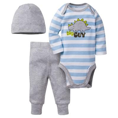 Baby Boys' 3 Piece Long Sleeve Onesies® Bodysuit, Jogger Pants, and Cap Set Dinos - Gerber®