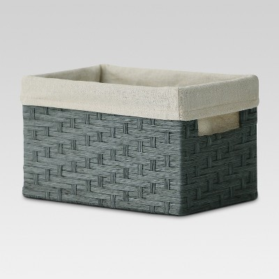 Small Lined Milk Crate - Gray Weave - Threshold™