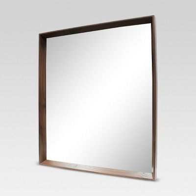 Square Walnut Decorative Wall Mirror Brown - Threshold™