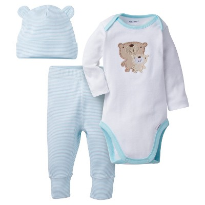 Babys' 3 Piece Long Sleeve Onesies® Bodysuit, Jogger Pants, and Cap Set Bears - Gerber®