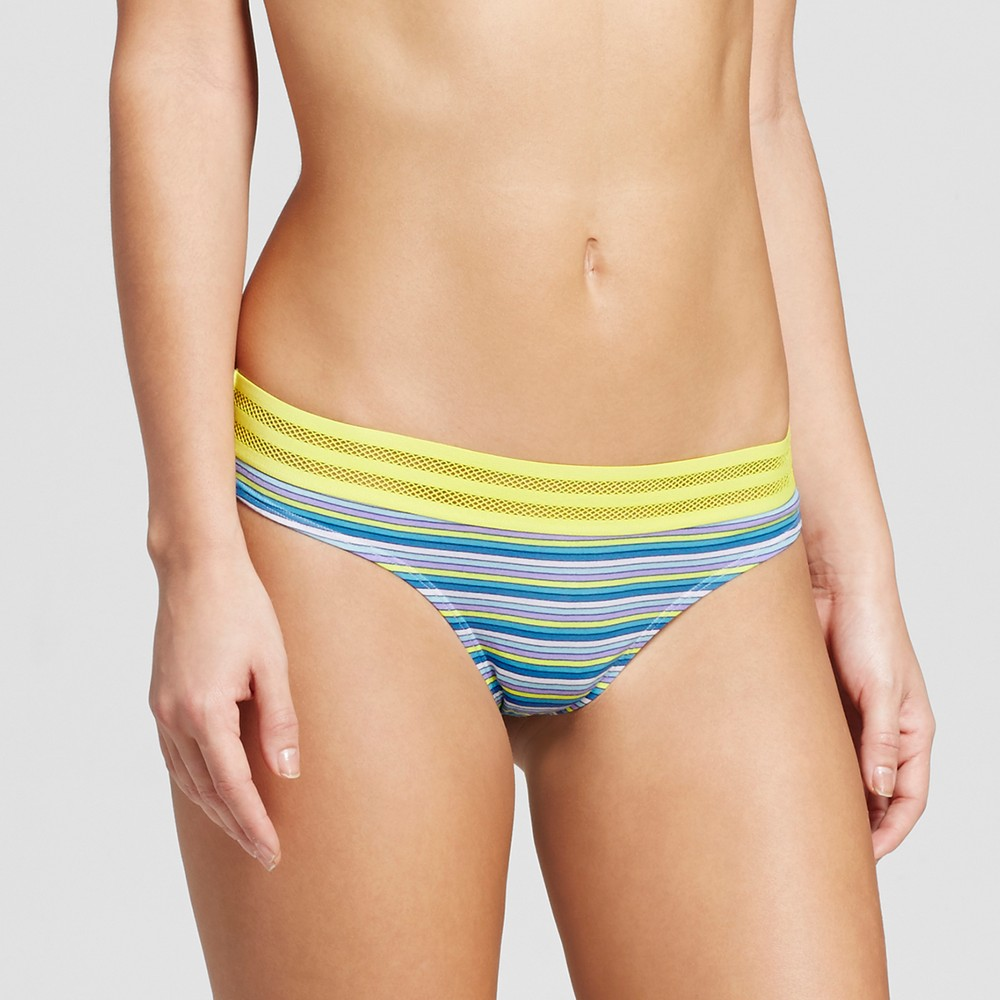 Womens Cotton Sporty Thong - Xhilaration - Lime Green and Blue Stripe L