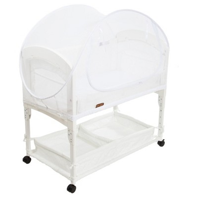 White -Arm's Reach Mini Co-Sleeper Bassinet Canopy