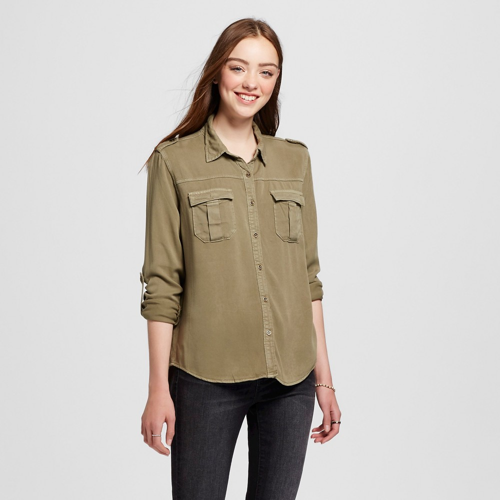 Women's Utility Shirt Boyfriend Fit Olive S – Mossimo Supply Co. (Juniors'), Green