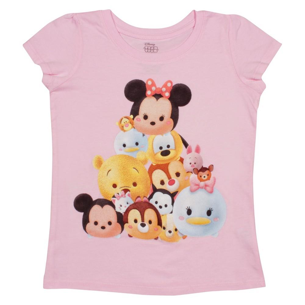 Tsum Tsum Toddler Girls Faces Short Sleeve T-Shirt 4T - Light Pink