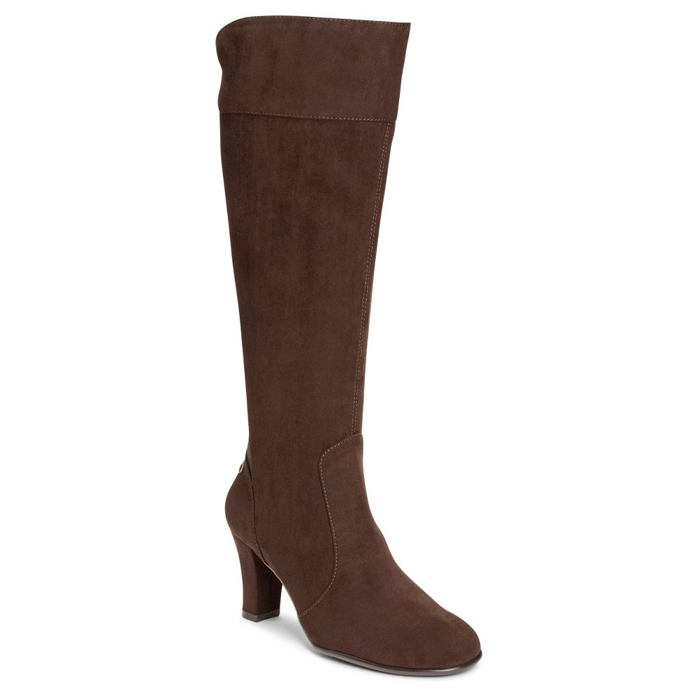Womens A2 by Aerosoles Log Role Extendable Calf Dress Boots - Dark Brown 5