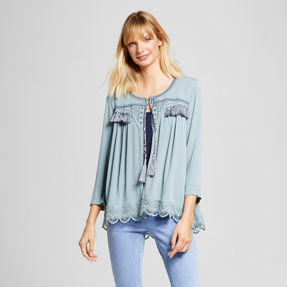 Women's Embroidered Tassel Jacket Blue XS – Knox Rose