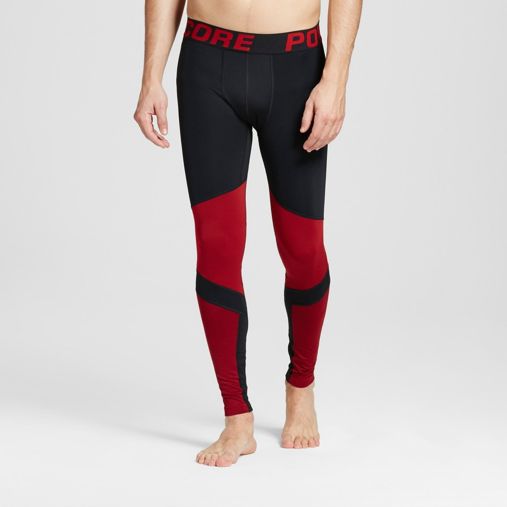 Men's Speed Knit Power Core Compression Tights - C9 Champion Black/Ripe Red L