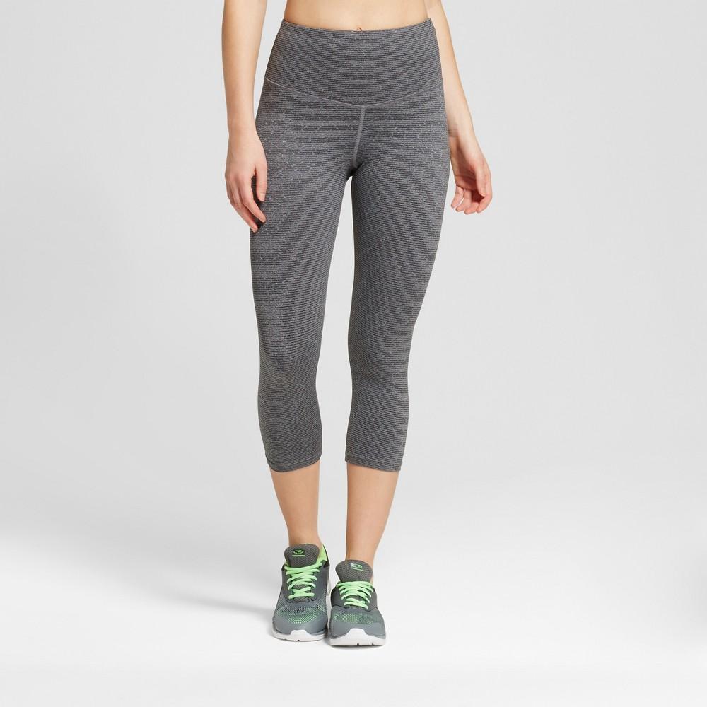 Women's High Waist Heather Textured Capri Leggings - C9 Champion Quartz Gray/White XS, Dark Gray Heather