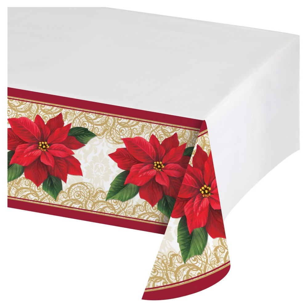 Poinsettia Lace Plastic Tablecloth , each