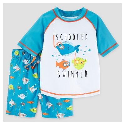 Baby Boys' Schooled Swimmer Rash Guard & Swim Trunk Set - Just One You™ Made by Carter's® Blue 18M