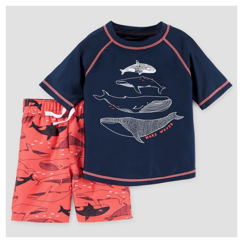 Toddler Boys' Rash Guard & Swim Trunk Set Whales 3T - Just One You Made by Carter's, Toddler Boy's, Orange