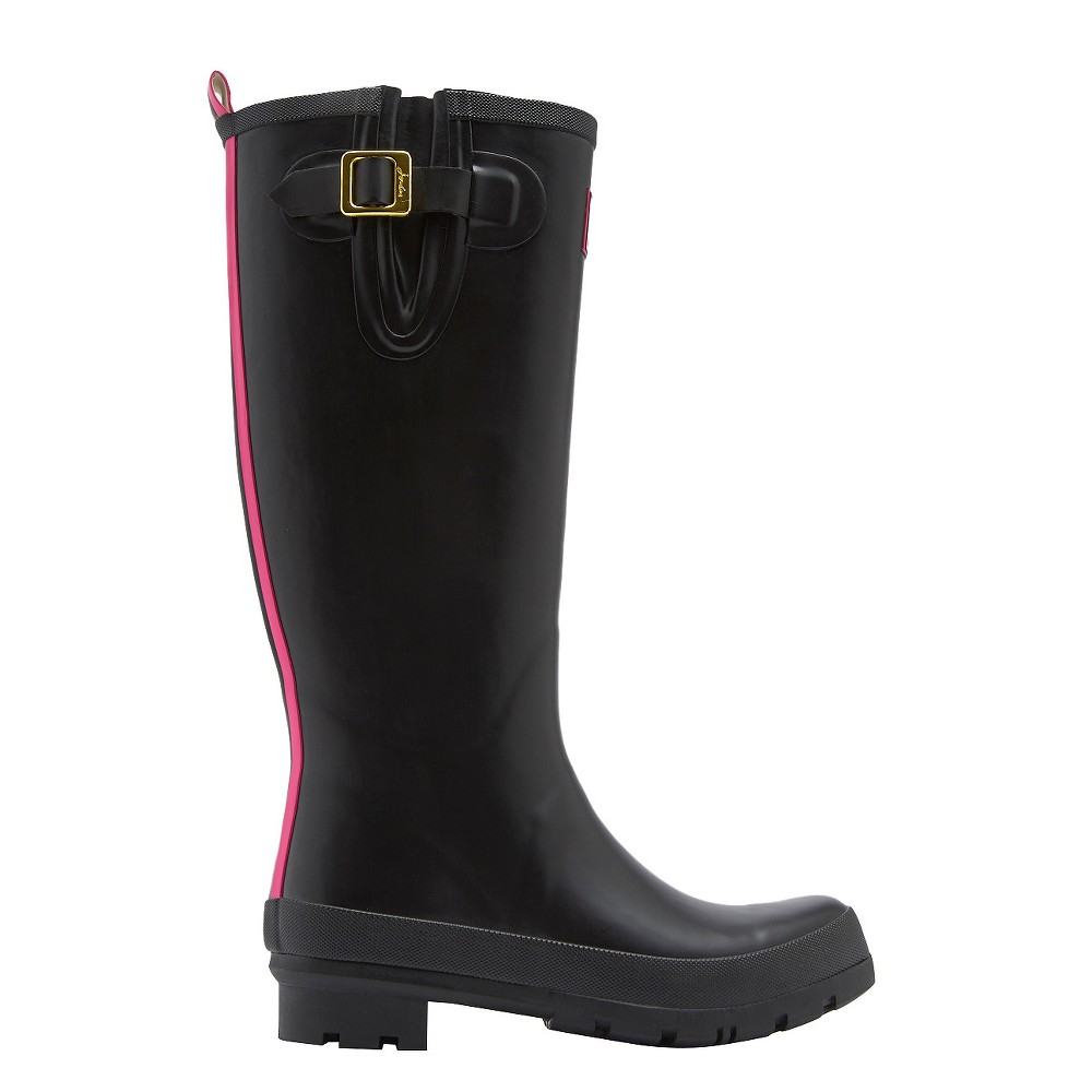 Womens Joules Field Welly Rain Boots - Black/Pink 5