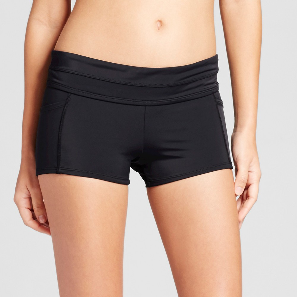 Womens Swim Boy Shorts with Pockets Black L - Cleanwater