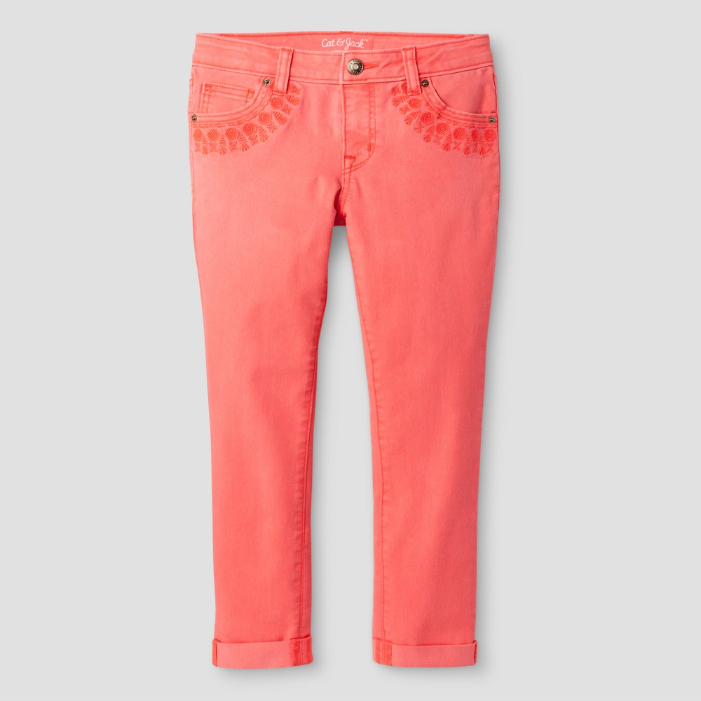 Girls Cropped Jeans - Cat & Jack Living Coral 6X, Orange