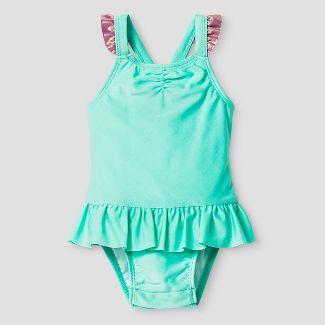 Baby Girls Aqua Magic Changing Mermaid One Piece Swimsuit - Cat & Jack™ Aqua 18M