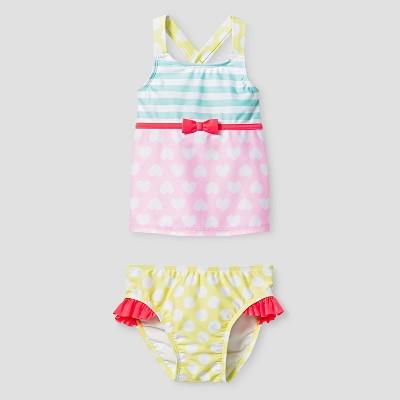 Toddler Girls' Heart Print Tankini - Cat & Jack™ Pink 5T