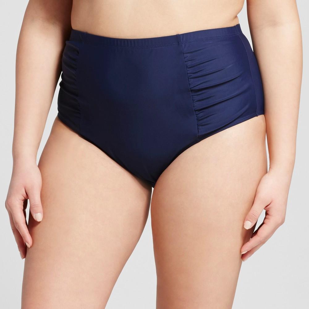 Women's Plus Size Solid Retro High Waist Bikini Bottom Navy 2X – Costa del Sol, Blue