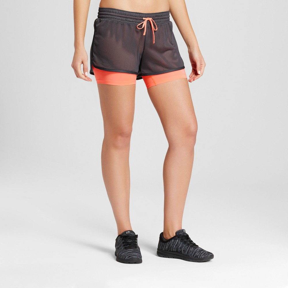 Womens Layered Train Shorts - C9 Champion Dark Gray/Coral XL