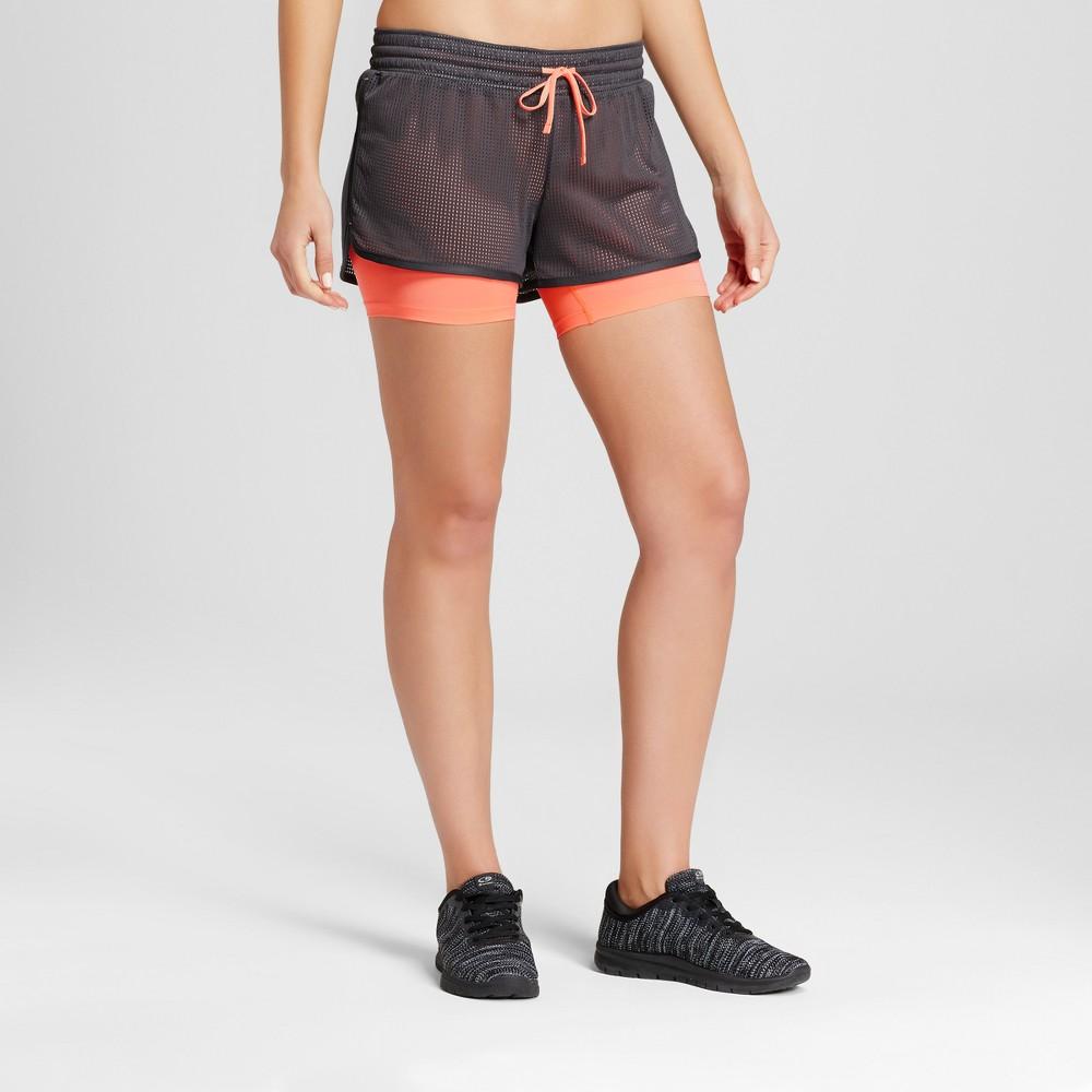 Womens Layered Train Shorts - C9 Champion Dark Gray/Coral Xxl