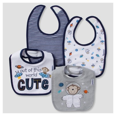 Baby Boys' 4pk Terry Bib Set Monkey - Gerber®