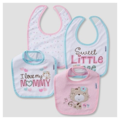 Baby Girls' 4pk Terry Bib Set Kitty - Gerber®
