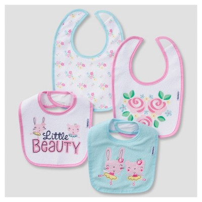 Baby Girls' 4pk Terry Bib Set Bunny - Gerber®
