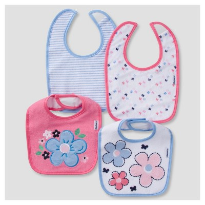 Baby Girls' 4pk Terry Bib Set Butterfly - Gerber®