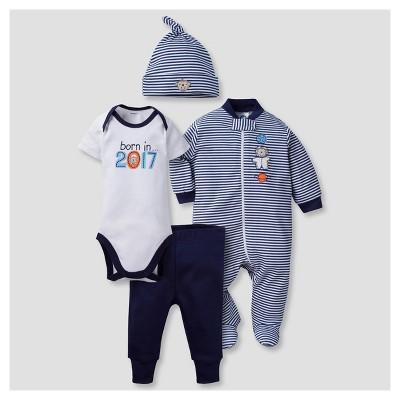 Baby Boys' 4 Piece Onesies® Bodysuit, Sleep N Play, Cap, and Jogger Pants Born in 2017 Set - Gerber®
