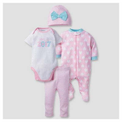 Baby Girls' 4 Piece Onesies® Bodysuit, Sleep N' Play, Cap, and Leggings Born in 2017 Set - Gerber®