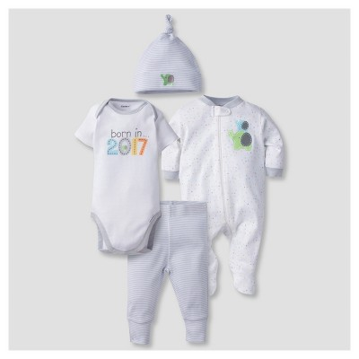 Baby's' 4 Piece Onesies® Bodysuit, Sleep N Play, Cap, and Jogger Pants Born in 2017 Set - Gerber®