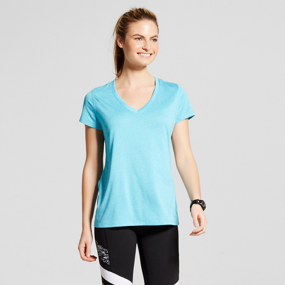Women's V-Neck Tech T-shirt - C9 Champion Flying Turquoise Heather XL