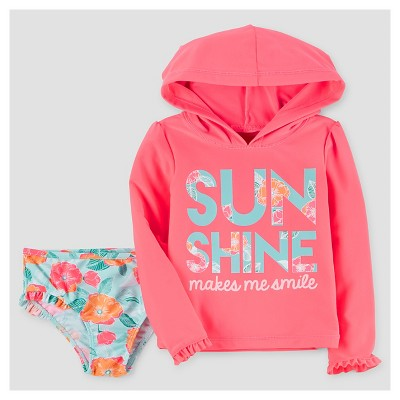 Baby Girls' Hooded Rash Guard & Bottoms Set - Just One You™ Made by Carter's® Pink Floral 3M