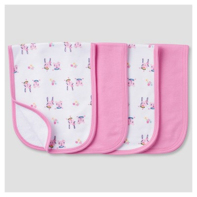 Baby Girls' 4 Pack Terry Burpcloth Set Bunny - Gerber®
