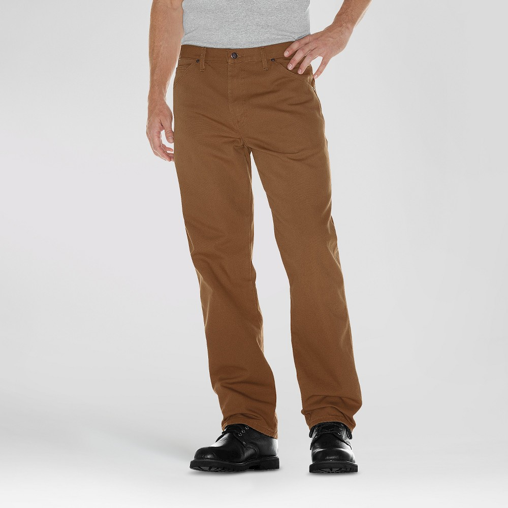 Dickies Mens Relaxed Straight Fit Canvas Duck Carpenter Jean- Brown Duck 32x32